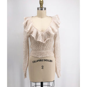 FREE PEOPLE Macaroon Ruffled Neck Sweater Mohair